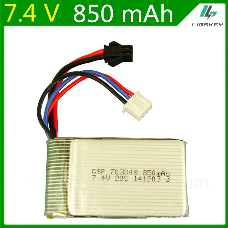 7.4V <font><b>850mAH</b></font> <font><b>Lipo</b></font> Battery For remote control aircraft 7.4V <font><b>850mAH</b></font> li-po battery <font><b>2S</b></font> SM plug 703048 Wholesale image