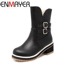 ENMAYERรองเท้าส้นสูงรองเท้าครึ่งรองเท้าผู้หญิงซิปรองเท้าฤดูหนาวแพลตฟอร์มขนาดใหญ่34-43 4สีคลาสสิกสีดำกลางลูกวัวบู๊ทส์