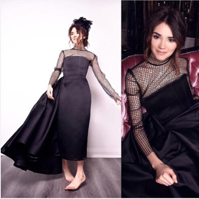 Nueva Llegada Elegante Una Línea de Vestido de La Celebridad 2017 Con Encanto Completa Mangas Largas vestidos de Noche Vestido de Fiesta Vestido de Raso Personalizada Amy1
