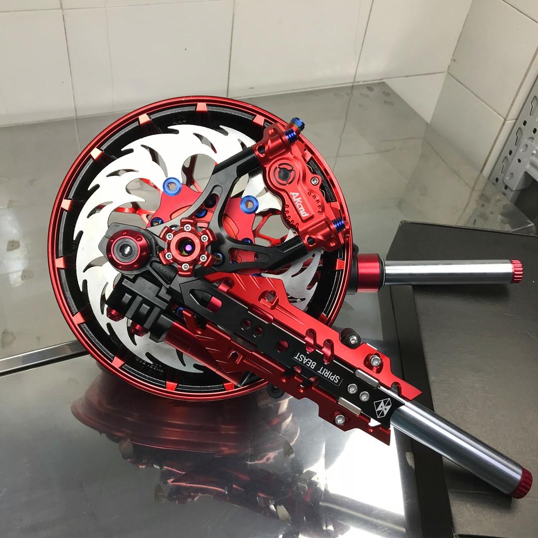 Motorcycle Front Shock Absorber/suspension+wheel Rim+brake System One Set For Yamaha Honda Scooter Building