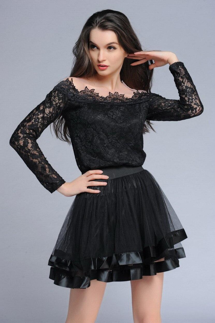 Новинка, распродажа, черная сетчатая Винтажная летняя мини-юбка, женская тонкая Пышная Красная faldas skater, Клубная одежда, юбка лолита, юбка - Цвет: Black Skirt Only