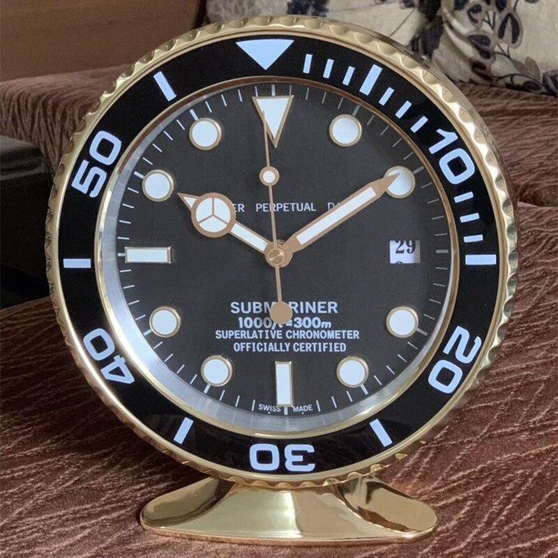 Luxury Design Table Clock Metal Art Watch Design Desk Clock Relogio De Parede Horloge Decorativo with Corresponding Logos