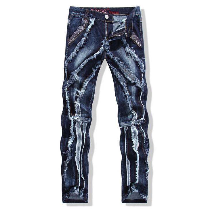 #2708 2016 Jogger jeans hommes Straight Vetement homme Mens ripped jeans Denim biker jeans Designer Hip hop Motorcycle trousers