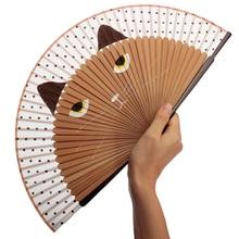 Gran venta 21x38 cm Vintage japonés de bambú de seda abanico de mano gato de dibujos animados pintado abanico plegable artesanía Navidad regalo exquisita artesanía