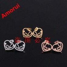 18K Rose Gold Gold Silver Heart Stethoscope Stud font b Earrings b font for Women Fashion
