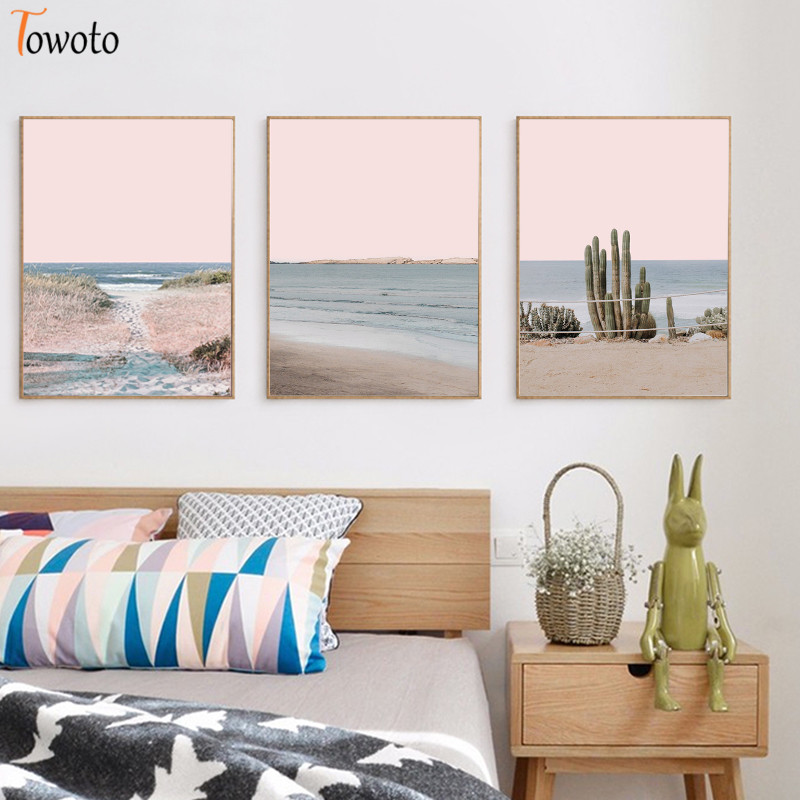 Desert Landscape Canvas Painting Ocean Water Sandy Beach Poster Cactus Print Pink Nursery Wall Art Coastal Decoration Pictures