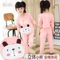 Vestuário infantil meninas criança outono conjunto camisola criança menina dos desenhos animados casual twinset conjunto de roupas meninas