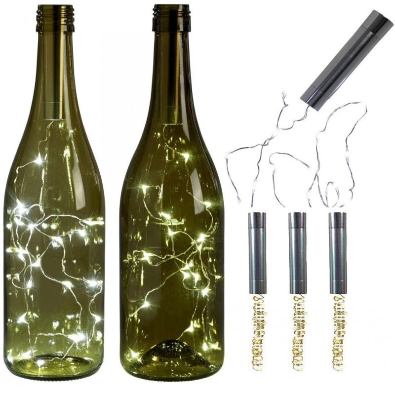 Christmas Wine Bottle Light String Light Copper Wire Home Bistro Wine Bottle Lamp Starry Bar Party Wedding Decoration Led Use AA