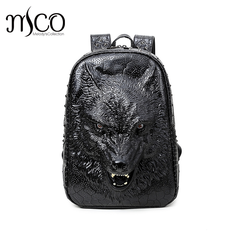 3D Graphic Embossed verisimilar Wild Wolf PU Leather Backpack Travel Laptop Bagpack Women Men Shoulder Mochila