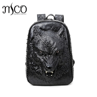 3D Graphic Embossed verisimilar Wild Wolf PU Leather Backpack Travel Laptop Bagpack Women Men Shoulder Mochila Feminina Punk bag