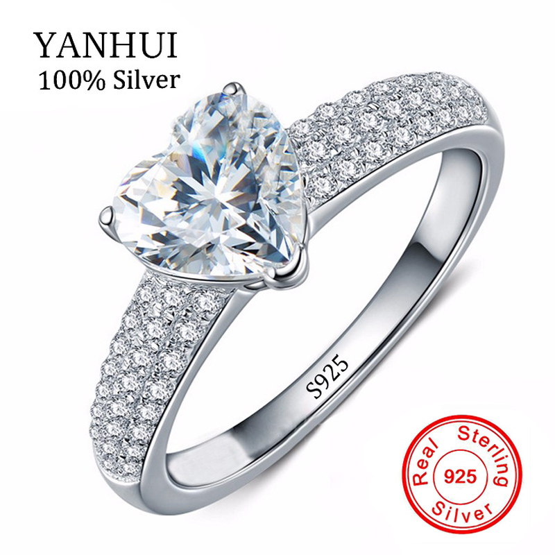 yanhui 925 solid silver jewelry heart rings big cz diamant zircon wedding band engagement rings for women girls bijoux yhr048 - Girl Wedding Rings