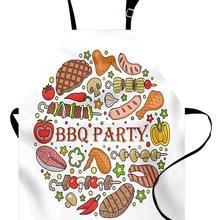 Барбекю вечерние фартук мясо рыба и колбаса с грилем Знаки дворе вечерние красочные расположение фартук для кухни для Пособия по кулинарии выпечки