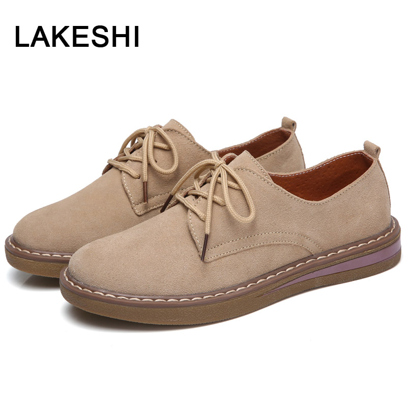 Oxford Shoes For Women Flat Shoes Women Fashion Spring Shoes Suede Leather Sneakers Women Lace Up Oxfords Flat Shoes Creepers