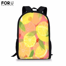 FORUDESIGNS Custom Image Backpack for Teenager Girls Boy Fashion Fruit Print School Bag Childrens BookBag Student Mochila Bolsa