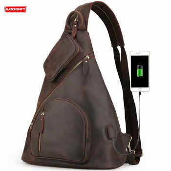 Men\'s Backpacks Large Capacity Chest Bag USB Charging Backpack Shoulder Bags Retro Crazy Horse Leather First Layer Leather Male - DISCOUNT ITEM  50 OFF Luggage & Bags