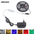 5M LED Strip 5050 SMD DC12V Flexible 30Leds/m Light LED Red/Green/Blue/Yellow/Whitr/Wram white + led Switch 3A Power Adapter eu