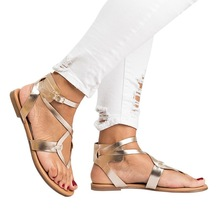 2019 Summer Gladiator Sandals Women Flats Comfortable Womens Flip Flops Rope Knot Buckle Up Outdoor Footwear Shoes Size 35-43 цена