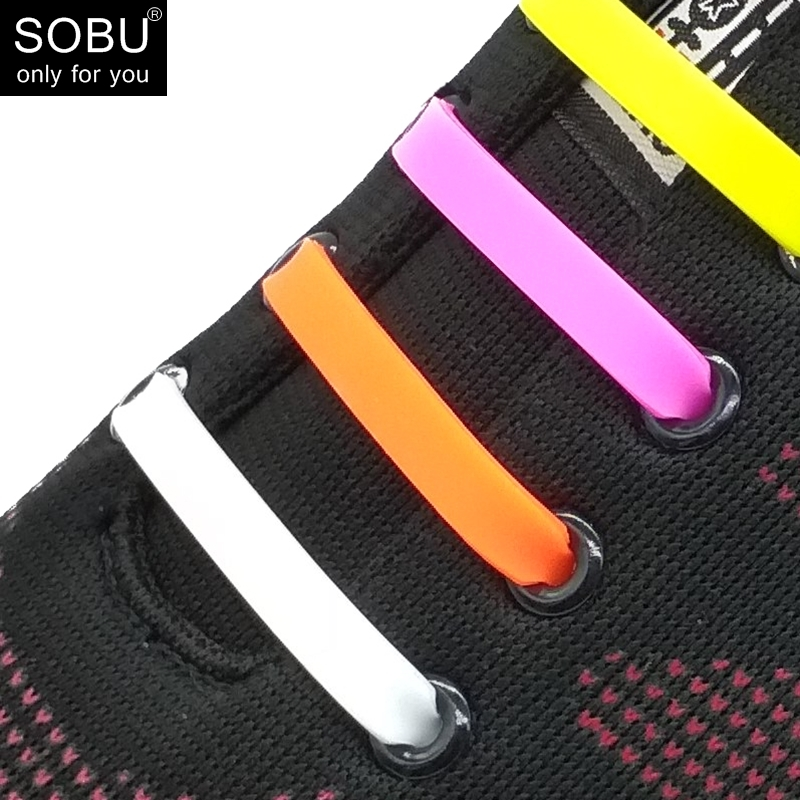 16 pcs/lot Shoelaces Novelty No Tie Shoelaces Unisex Elastic Silicone Shoe Laces For Men Women All Sneakers Fit Strap N001 купить