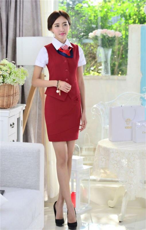 Весна Лето Новинка тонкие модные деловые женские костюмы жилет+ юбка форма дизайн Дамская Офисная Рабочая одежда юбки костюмы