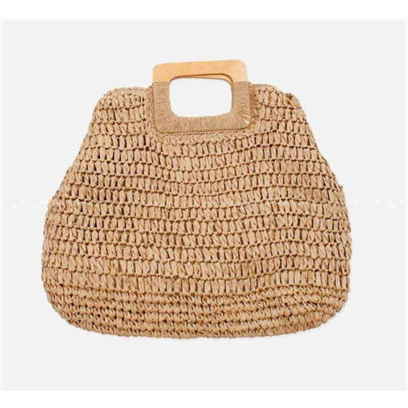 Bolso Simple de moda urbana, bolso de playa de verano para mujer, de gran capacidad Bolsos De Mujer, bolso de paja hecho a mano, bolso de viaje de ratán bohemio