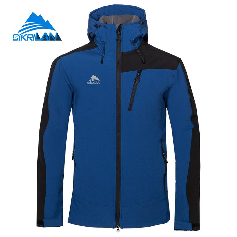 Mens Hooded Hiking Camping Softshell Outdoor Jacket Climbing Coat Trekking Leisure Sports Jackets Fleece Lined Jaqueta Masculino