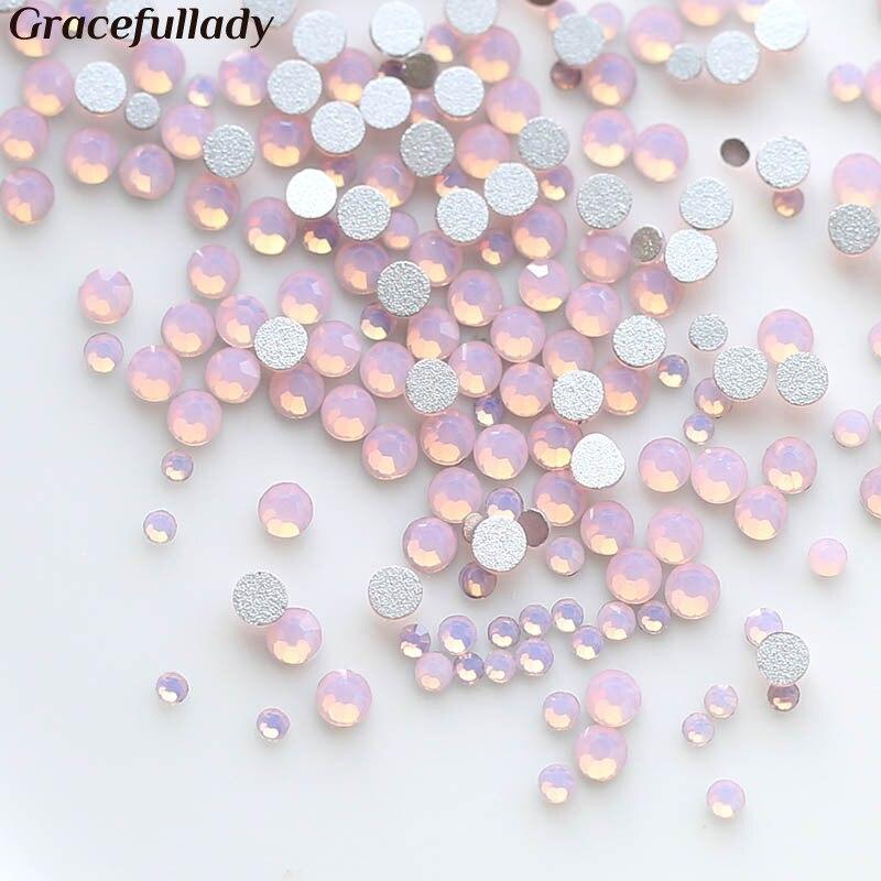 450 pcs/Pack Mix Size Pink Opal Crystal Nail Art Rhinestones For 3d Charm Glass Flatback Non Hotfix DIY Nails Decorations super shiny 5000p ss16 4mm crystal clear ab non hotfix rhinestones for 3d nail art decoration flatback rhinestones diy