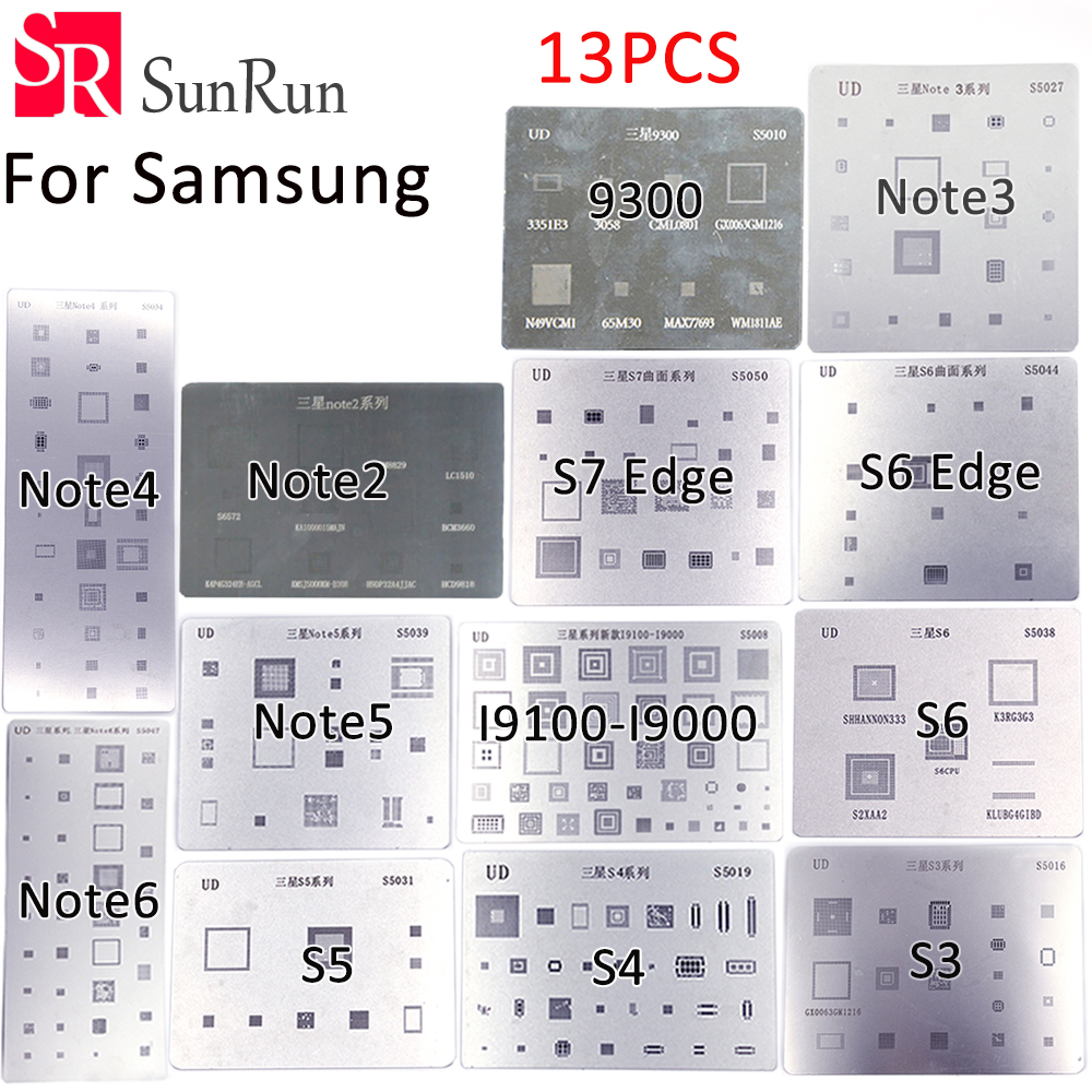 13pcs BGA Stencil Direct Heating Reballing Stencil for samsung i9300 s3 i9000 s4 Note 3 Note4 S5 S6 Note5 Note6 S6Edge S7Edge multifunctional desktop docking kit w for samsung galaxy s3 i9300 s4 i9500 note 2 n7100 white