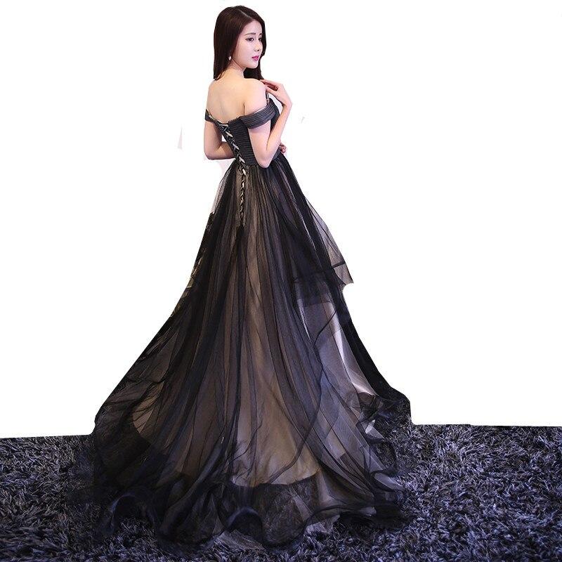 MDBRIDAL Black Evening Dress Ball Gown Off Shoulder Lace up Tulle ...