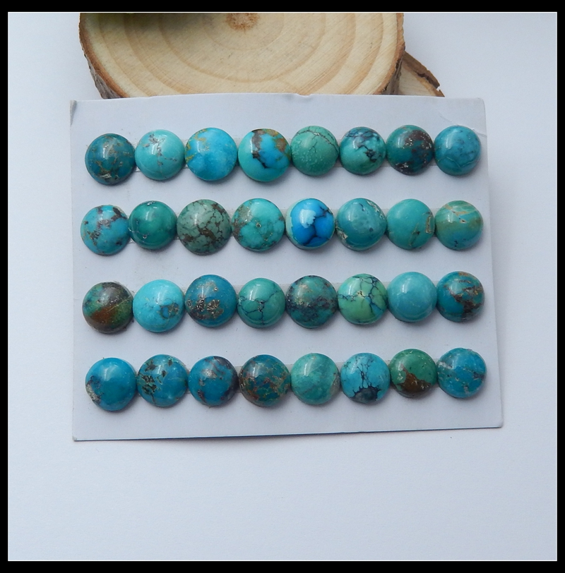 Wholesales 32Pcs Natural Stone Precious Turquoise Round Bead Hubei Making Jewelry Cabochons 8mm