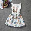 Big Girls Sleeveless Summer Dress Elegant Jacquard Cartoon Print Princess Dresses Children School Clothes Boutique Clothing