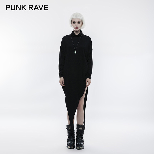 PUNK RAVE Gothic High Heaps Collar Bat Long Sleeve T-shirt Spring Autumn Black Asymmetric Sharp-angled Hem Modal Knit Tops Tees