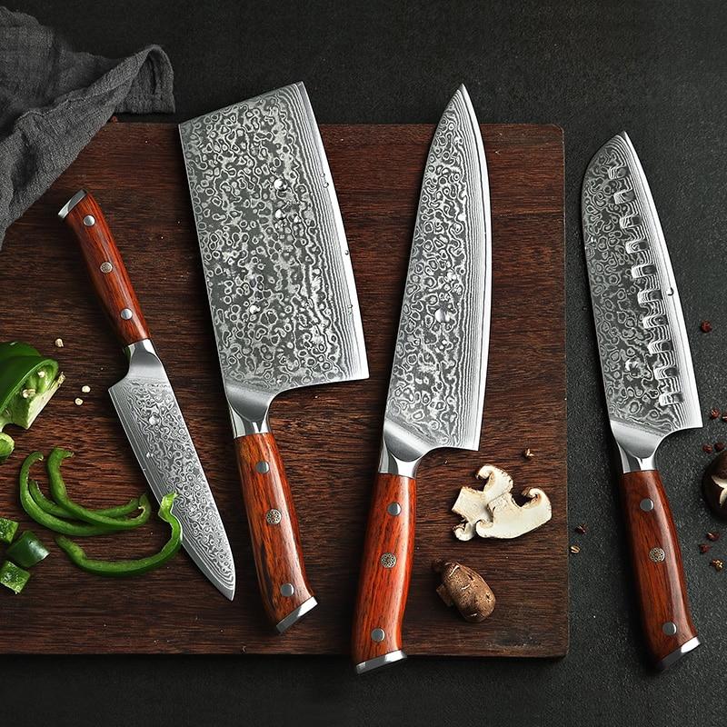 Xinzuo 4pcs Kitchen Knife Set Vg10 Damascus Steel Kitchen