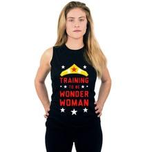 Чудо-Женщина печати Бодибилдинг Для женщин хлопок летняя майка с бретелями фитнес Для женщин топ без рукавов с О-образным вырезом, черная рубашка без рукавов Стрингер