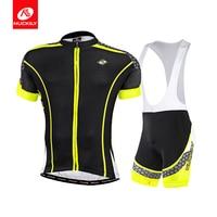 NUCKILY Men BIB Cycling Apperal Coolmax Bike Jersey And Foam Pad BIB Short MA011 MS011
