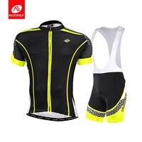 NUCKILY Men BIB Cycling Apparel Coolmax Bike Jersey and Foam Pad BIB Short MA011 MS011