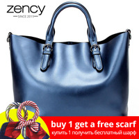Zency 100% Genuine Leather Soft Skin Fashion Women Handbag Luxury Gold Silver Tote Bag Female Messenger Crossbody Purse Elegant