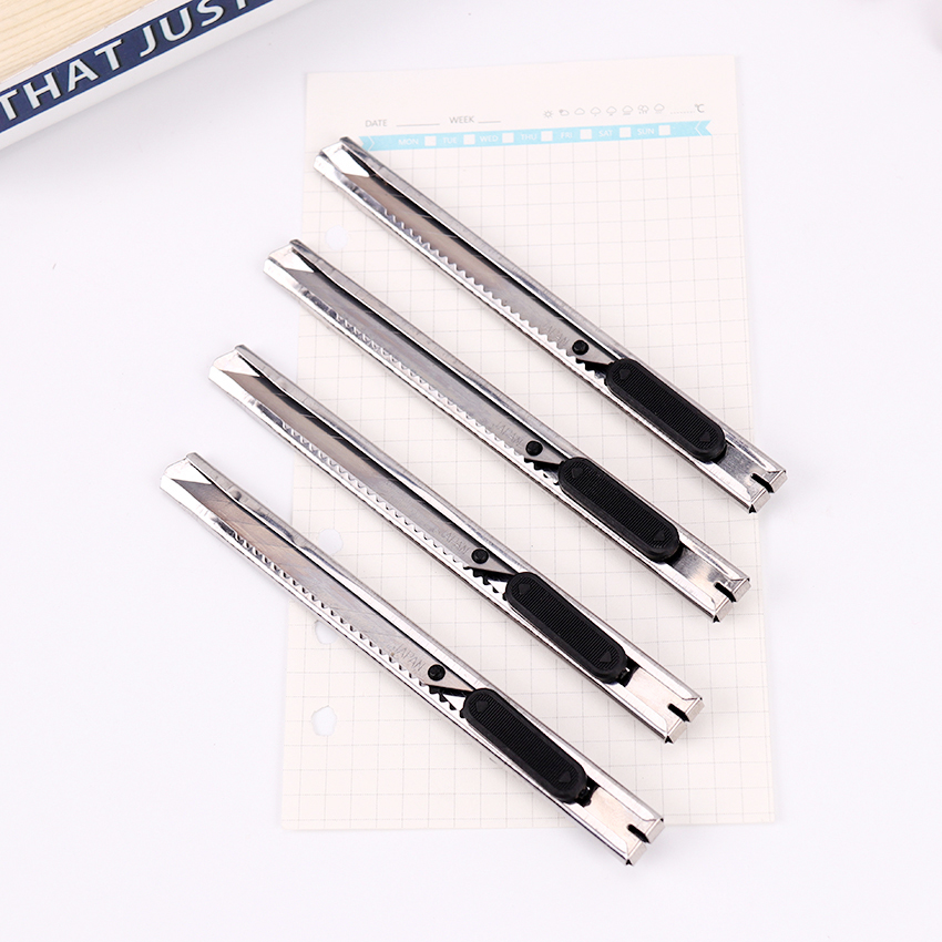 Модный портативный универсальный нож серебряного цвета, резак для бумаги, лезвие бритвы для офиса, канцелярские товары, Escolar Papelaria