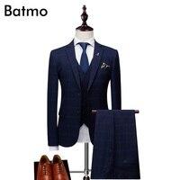 Batmo 2018 new arrival autumn high quality plaid casual skinny suits men,men's print wedding dress,men's suits XZ167