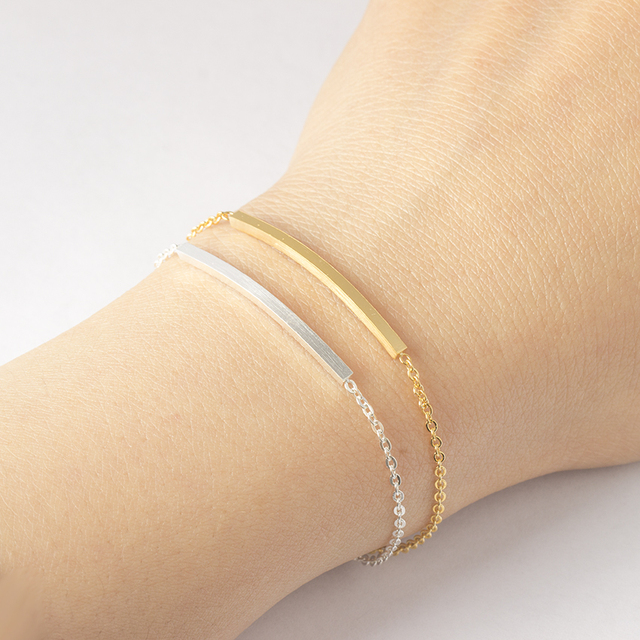 Rose Gold Color Link Chain Thin Curved Bar Bracelets For Women Men Minimalist BF