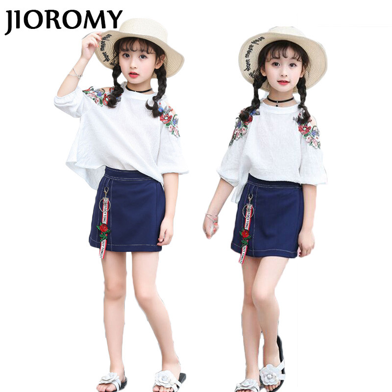 JIOROMY Big Girls Clothes Suit 2018 Embroidery Cotton Flower T-shirt + Cowboy Mini-skirt 2 Sets of Tide Children's Clothing Sets