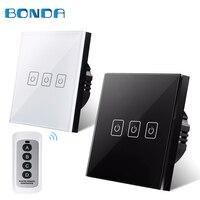 Bonda EU UK Standard 3 Gang 1 Way Wireless Remote Control Light Wall Switches RF433 Remote