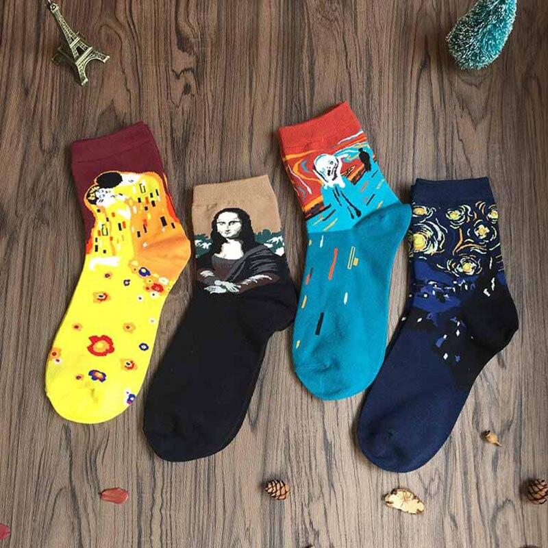 Лидер продаж картина маслом хлопка забавные носки желтый мужской женский Ван Гог Ретро Короткие носки Для женщин Meias ...