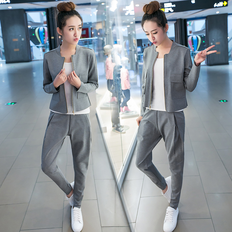 Le nouveau style de la Coréenne de femmes casual wear mince fermeture éclair manteau Haren longues pantalon deux costume