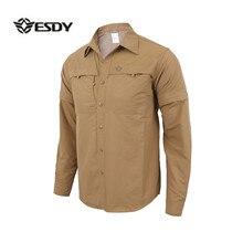 Мужская быстросохнущая рубашка со съемным длинным рукавом, военный тактический Открытый походный дышащий анти-УФ Съемный кардиган с отворотом, топы