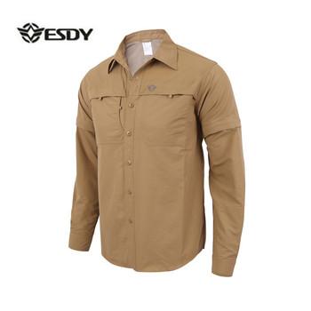 Męski długi z odpinanym kapturem rękaw Quick Dry Shirt taktyczna wojskowa Outdoor Hiking oddychający anty UV wymienny rozpinany sweter topy tanie i dobre opinie Koszule Camping i piesze wycieczki Pełna Poliester COTTON Anti-shrink Oddychająca Szybkie suche Pasuje prawda na wymiar weź swój normalny rozmiar