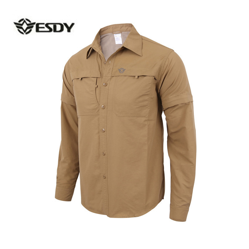 Men's Detachable Long Sleeve Quick Dry Shirt Military Tactical Outdoor Hiking Breathable Anti UV Removable Lapel Cardigan Tops