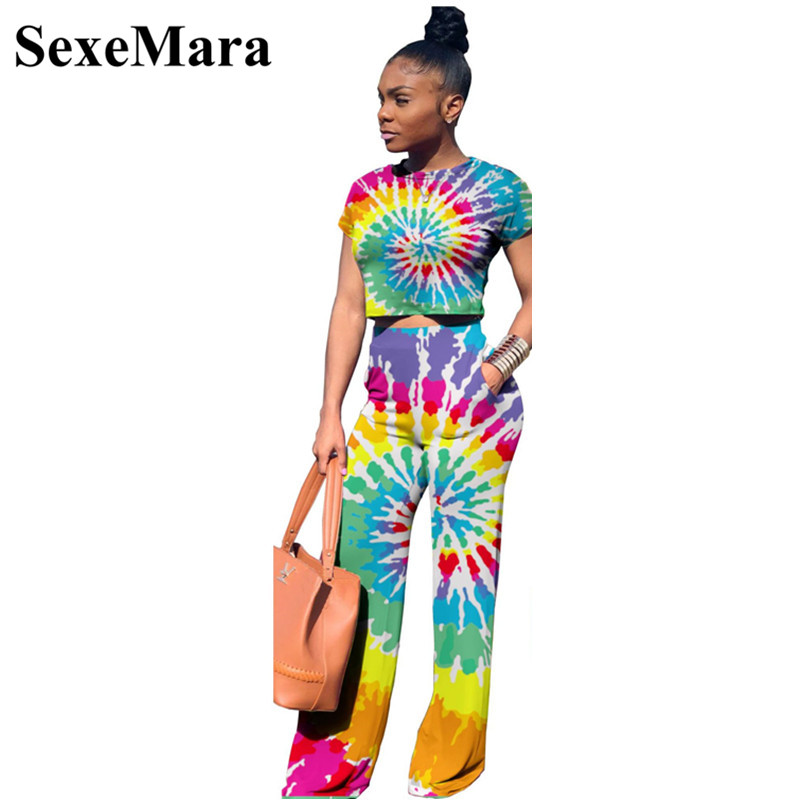 23b1fe64b4ad31 Tie Dye Print Sexy Two Piece Set Crop Top and Wide Leg Pants Casual  Matching Sets