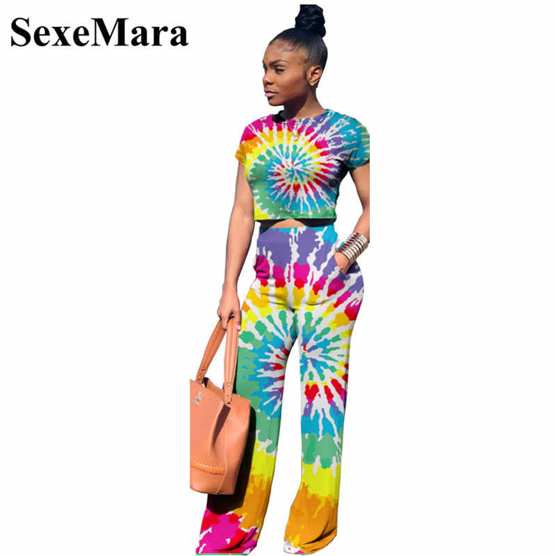 7f79f0466bfa Tie Dye Print Sexy Two Piece Set Crop Top and Wide Leg Pants Casual  Matching Sets