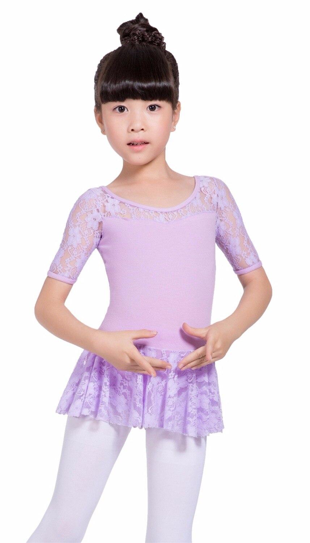 6a3806316cde Girls Lace Short Sleeve Leotards TuTu Skirt Dress for children Teen ...