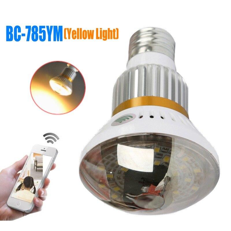 BC-785YM De Sécurité À Domicile Wifi Caméra IP HD 720 p Ampoule Lampe Caméra IP Sans Fil avec Lumière Jaune soutien P2P Onvif détection de mouvement